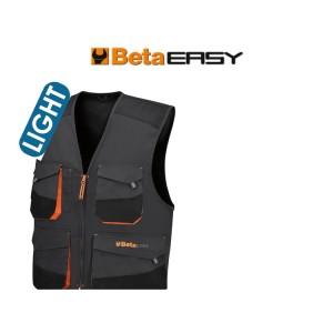 Jaqueta de trabalho sem mangas, leve, em sarja T / C, 180 g / m2, com inserções Oxford, cinza Novo design - ajuste aprimorado