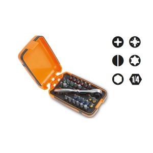 Jogo de 25 bits, 1 adaptador para parafusadeira e 1 catraca reversível em estojo de plástico