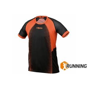 Camisa técnica, fabricada em tecido respirável de secagem rápida; inserções de malha lateral