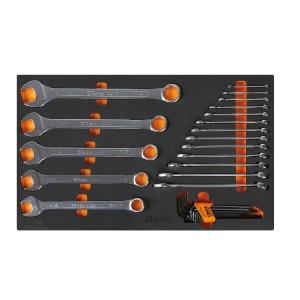 Bandeja de espuma macia com jogo de ferramentas