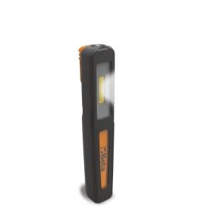 Wiederaufladbare Inspektionslampe mit doppeltem Lichtaustritt: Lampe und Taschenlampe