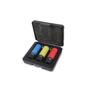 Kraftsteckschlüsselsatz, 3-teilig, mit Polymereinsätzen für Radmuttern,  im Kunststoffkoffer