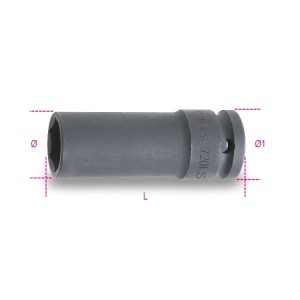 Kraftsteckschlüssel,  für Schlagschrauber, lange, schmale Ausführung phosphatiert