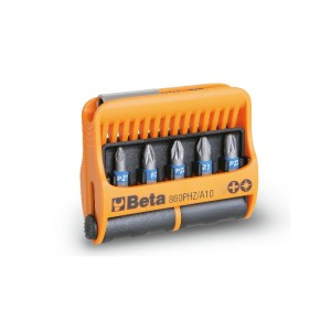 Sortiment mit 10 Schraubeinsätzen und magnetischer Schraubeinsatzhalter, im Kunststoffkasten