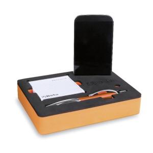 Schaumeinsatz mit 1 Kugelschreiber und 2 Notizblöcken