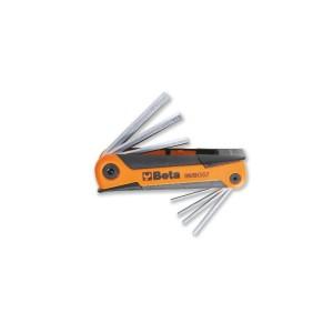 Sechskant-Stiftschlüsselsatz, 7-teilig, gebogen, verchromt, mit Kunststoffhalterung