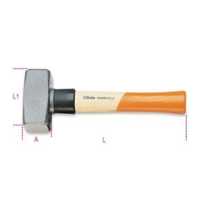 Fäustel mit Stielschutzhülse  aus Kunststoff, Stiel aus Holz