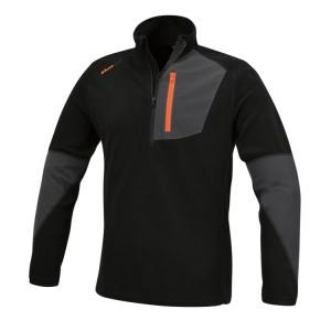 Microfleece-Pullover mit kurzem Reißverschluss, elastisch