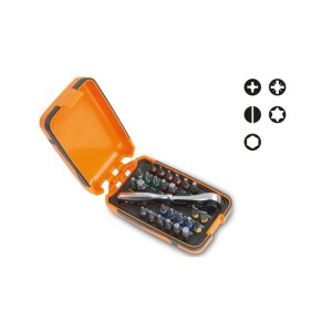 Sortiment mit 25 Schraubeinsätzen, 1 Anschluss und 1 Umschaltknarre, mit Hülle im Taschenformat