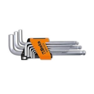 Sechskant-Stiftschlüsselsatz, gebogen, mit kugelförmigem Kopf, 9teilig
