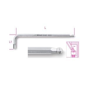 Sechskant-Stiftschlüssel, gebogen, mit kugelförmigem Kopf, aus Edelstahl