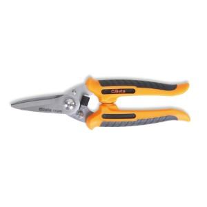 Víceúčelové nůžky, rovné čepele z nerezové oceli,  s mikroozubením