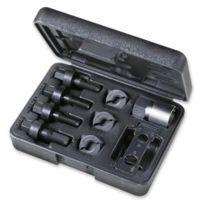 Sortiment nástrojů pro opravy vnějších a vnitřních závitů, šrouby pro upevnění kol