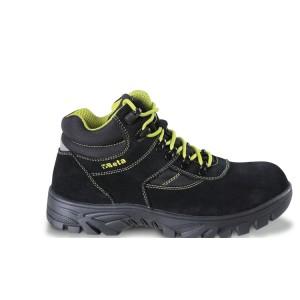 Bezpečnostní semišové boty s nylonovými vložkami, voděodolné, s gumovou podešví a rychlootevíracím systémem. WR (voděodolná obuv) - po 1000 krocích v nádrži se 3 cm vody mokrý povrch musí b&