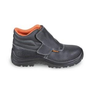 """Kotníkové šněrovací kožené boty, """"svářečskeho"""" typu s rychlým otevíráním a ochrannou přední části s páskovým uzávěrem"""