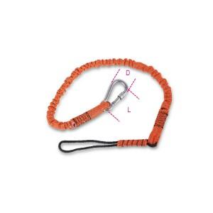 Pružné lano s karabinou pro upevnění nářadí při práci ve výškách