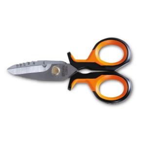 Nůžky pro elektrikáře  s odstupňovanými frézovacími profily, v pouzdře