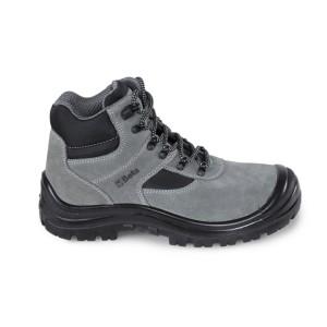 Semišové kotníkové boty s všivkami z nylonu, ochranou špice z polyuretanu a rychlootevíracím systémem