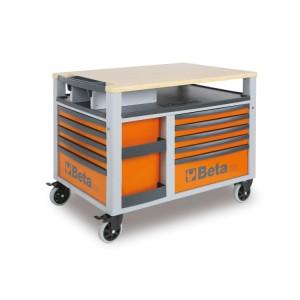 Vozík SuperTank s pracovní deskou a deseti zásuvkami