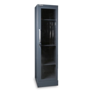 Plechová jednodveřová skříň na nářadí, dveře z čirého polykarbonátu, do syst. C55