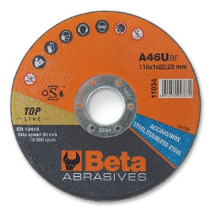 Abrasive steel and stainless steel cutting discs, thin, with flat centre