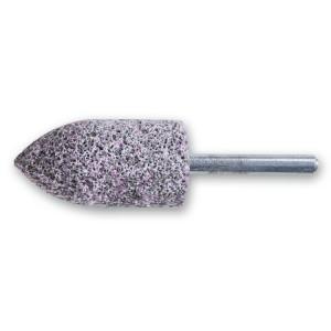 Abrasive shaft-mounted wheels, abrasive grey/pink corundum grains, ceramic bonded, ogive-shaped