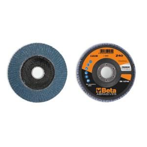 Flap discs with zirconia abrasive cloth, fibreglass backing pad, single flap construction