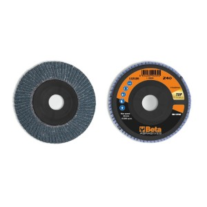 Flap discs with zirconia abrasive cloth, plastic backing pad, single flap construction