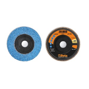 Flap discs with ceramic-coated zirconia abrasive cloth, plastic backing pad and single flap construction
