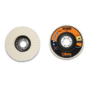 Felt flap discs, fibreglass backing pad, single flap construction