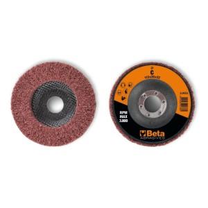 Non-woven radial discs, corundum synthetic fibres
