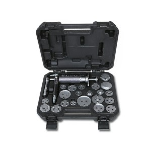 Pneumatic tool for pushing back and rotating right and left disc brake pistons with accessories in plastic case
