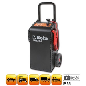 Multipurpose battery charger /starter, 12-24V wheeled