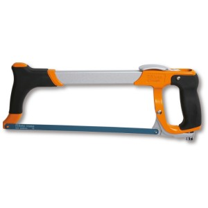 Hacksaw frame with quick release blade attachment system