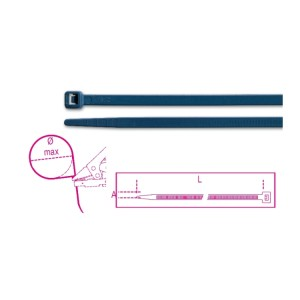 Nylon cable ties, blue, detectable by metal detectors