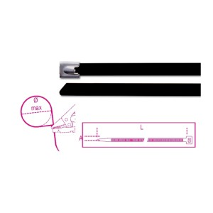 Self-locking stainless steel cable ties, black polyester coating