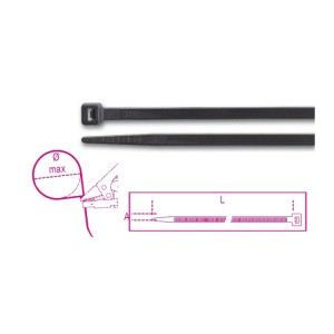 Nylon cable ties, black UV resistant
