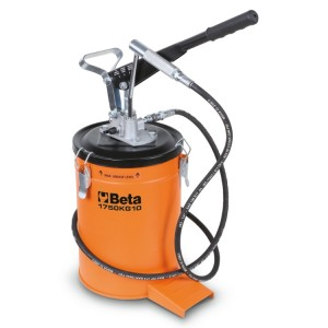 Lever-operated grease gun, 10 kg, with high-pressure hose, 2 m