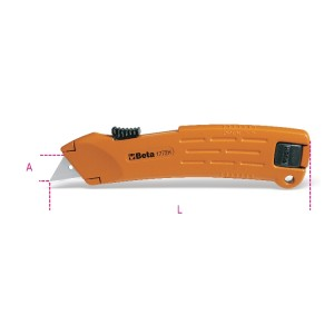 Safety utility knife with retractable blade, supplied with 2 blades