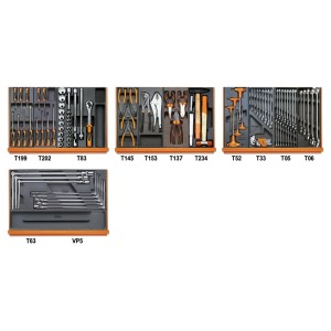 Assortment of 102 tools for car repairs in ABS thermoformed trays