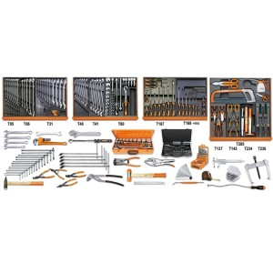 Assortment of 261 tools for industrial maintenance in ABS thermoformed trays