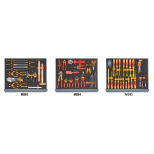 Assortment of 96 tools for electrotechnical maintenance in EVA foam trays