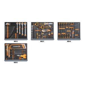 Assortment of 133 tools for industrial maintenance in EVA foam trays