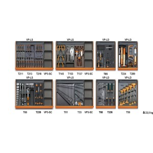 Assortment of 210 tools for universal use in ABS thermoformed trays