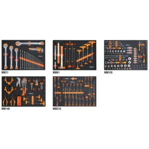 Assortment of 231 tools for universal use in EVA foam trays