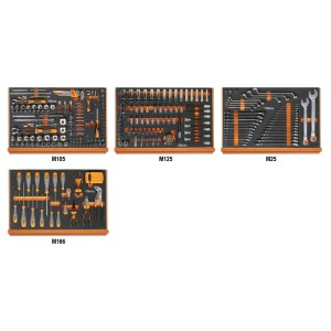 Assortment of 273 tools for car repairs in EVA foam trays