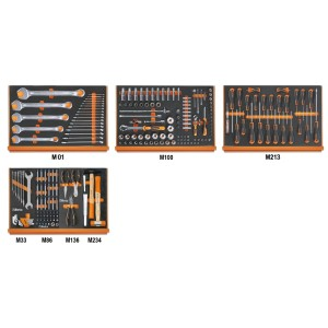 Assortment of 215 tools for universal use in EVA foam trays
