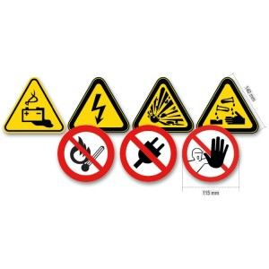 Set of 7 electrical hazard signs, aluminium frame