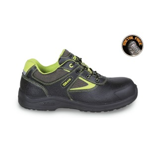 Leather shoe, water-repellent, with nylon insets and anti-abrasion reinforcement in toe cap area