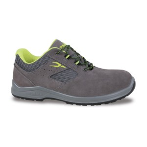 Suede shoe, perforated, with highly breathable mesh inserts